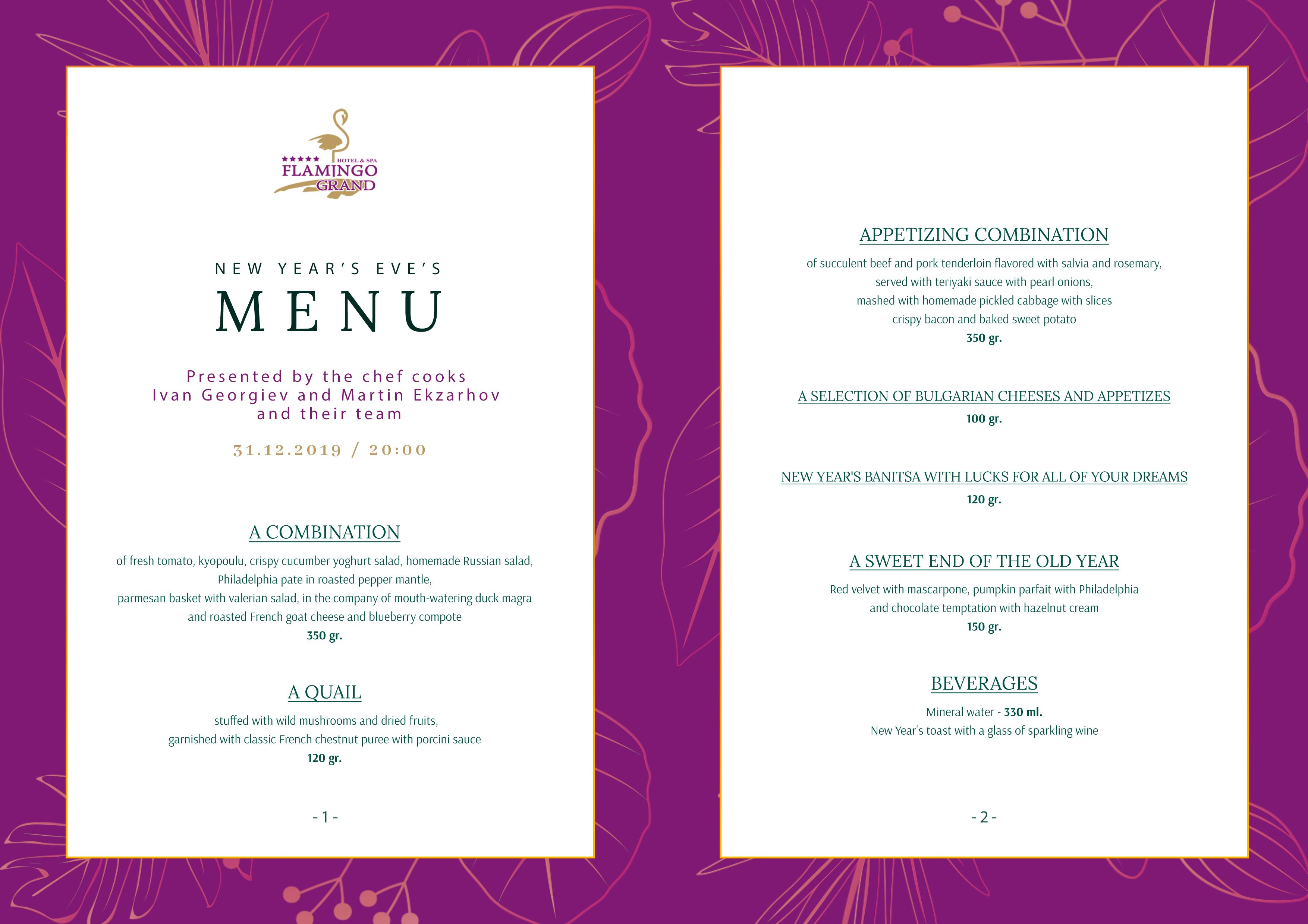 NEW YEAR'S EVE'S MENU FLAMINGO GRAND HOTEL & SPA